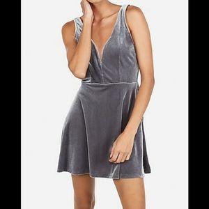 Express Velvet Deep V-Wire Skort Dress